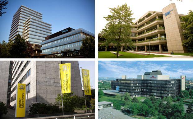 Die Gebäude von vier Riester-Anbietern mit guten Nachhaltigkeitsberichten.