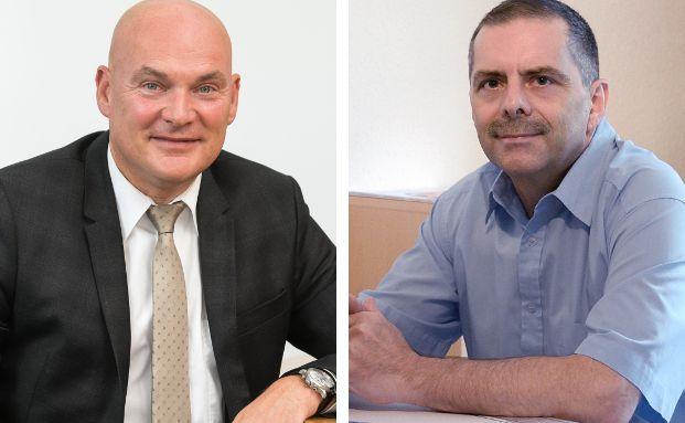 Gerd Kemnitz (r.) ist Versicherungsmakler aus Stollberg. Peter Schneider, Geschäftsführer des Analysehauses Morgen & Morgen.