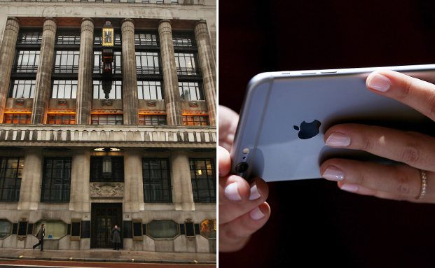 Goldman Sachs in London (rechts) und ein iPhone 6 (links). Foto: Getty Images
