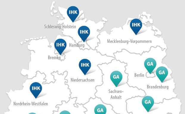 Deutschlandkarte der Zulassungsbehörden für 34i-Vermittler, Grafik: obs/Qualitypool GmbH