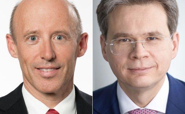 Der Vorstandsvorsitzende der Raiffeisen Bankengruppe Patrik Gisel (l.) und Vontobel-Geschäftsführer Zeno Staub