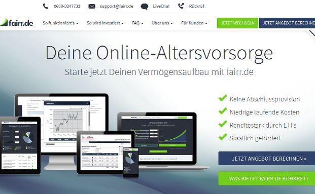 Screenshot der Webseite fairr.de, einem Online-Anbieter von Riester- und Rürup-Produkten