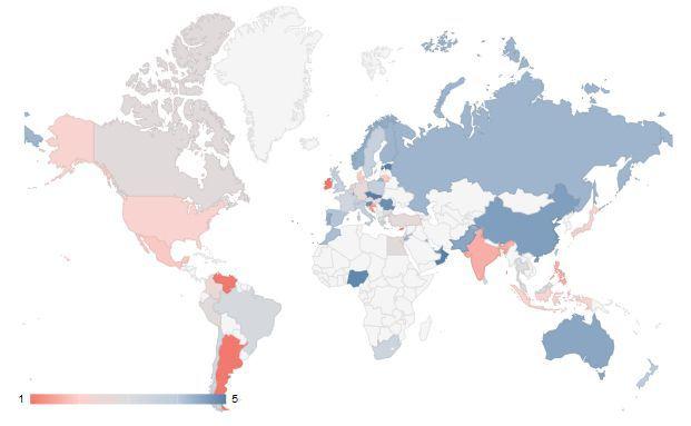 Diese Weltkarte der Dividendenrenditen hat die Vermögensverwaltung Starcapital aus Oberursel veröffentlicht. Grafik: Starcapital AG