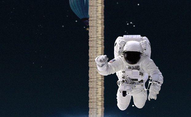 Ein Astronaut markiert den höchsten Stratosphärensprung: Die Höhe von 39 Kilometern entspricht 17 Millionen Euro. Grafik: DWS Investments