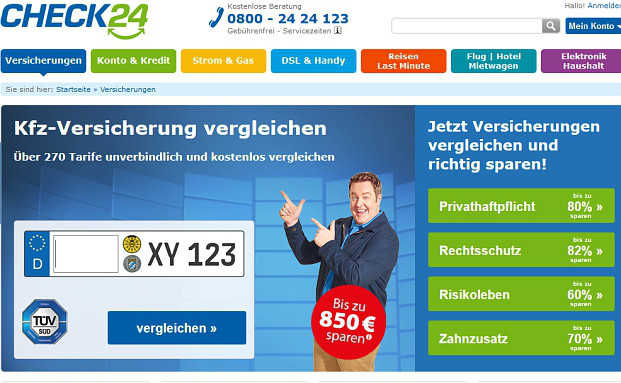 Ein Screenshot der Check24-Seite. Foto: © Screenshot Check24