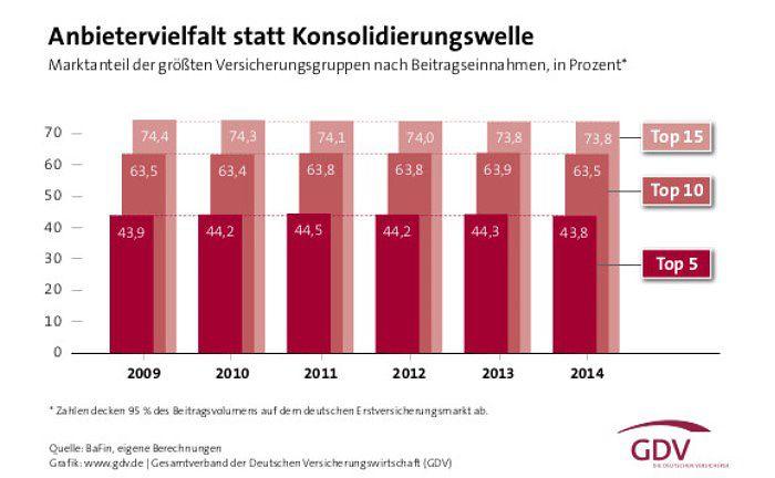 Die Grafik zeigt die Marktanteile der großen Versicherer in Deutschland auf Basis der Beitragseinnahmen.|© GDV