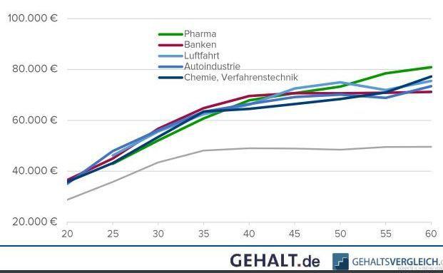 Ab dem 40. Lebensjahr stagniert das Gehalt der Finanzfachkräfte weitgehend. Anders sieht es bei den Führungskräftem aus. Quelle: Gehal.de/Gehaltsvergleich.com