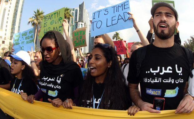 Klima-Aktivisten im Ölstaat Katar Quelle: Getty Images