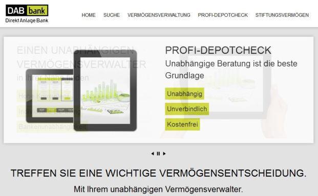 Die überarbeitete Internetseite Vermoegensverwalter-finden.de. (Quelle: DAB Bank)