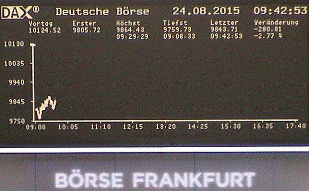 Dax rauscht unter 10.000 Punkte. (Foto: Live-Cam Deutsche Börse)