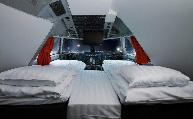 Am Stockholmer Flughafen können experimentierfreudige <br> Gäste im Jumbostay Quartier nehmen. Das Hotel mit 76 Betten <br> befindet sich in einer umgebauten Boeing 747.