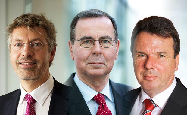 Philipp Vorndran, Klaus Kaldemorgen und Heribert Bruchhagen (von links)