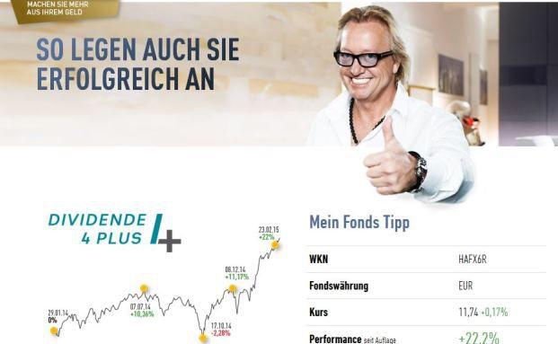 """Screenshot der Anzeige: """"So legen auch Sie erfolgreich an"""", verspricht Robert Geiss mit Sieger-Daumen."""