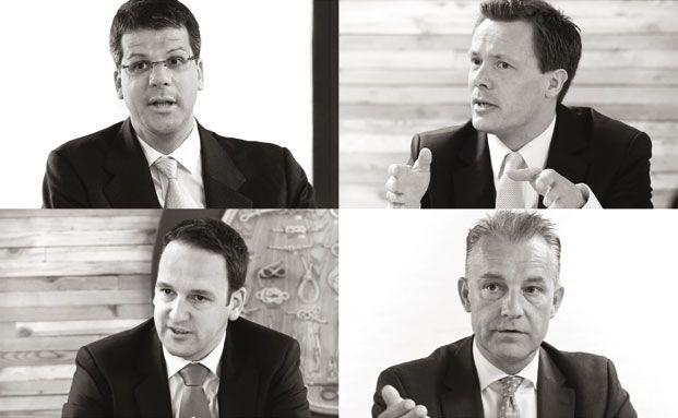 Im Uhrzeigersinn von oben links: Alexander Betz (MPC Capital),<br> Florian Maack (Nordcapital), Andreas Arndt (HCI Capital) und<br>Jens Brandis (Fondhaus Hamburg)