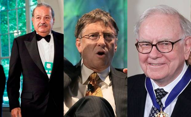 Von links: Carlos Slim, Bill Gates, Warren Buffett <br>(Fotos: Getty)