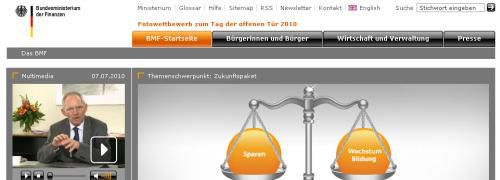 Screenshot der Webseite des<br>Bundesfinanzministeriums