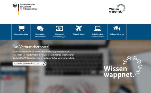 Ein Screenshot des neuen Verbraucherportals des BMJV. Auf der neuen Webseite des Bundesministeriums für Justiz und Verbraucherschutz können sich Verbraucher über unterschiedliche Themen des Verbraucherschutzes informieren. Foto: Screenshot wissen-wappnet.de