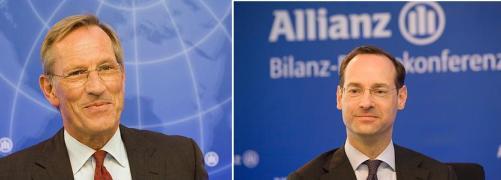 Michael Diekmann (links) und Oliver B&auml;te<br>auf der Bilanzpressekonferenz der Allianz