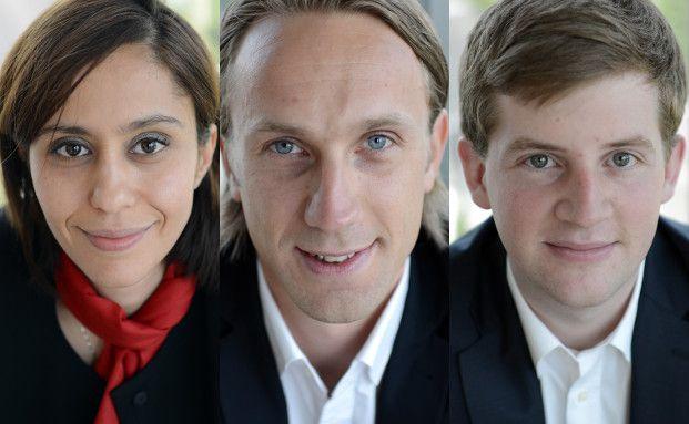 Die neuen Mitarbeiter bei Banque de Luxembourg: Inès Buttet, Henrik Blohm, Tom Michels