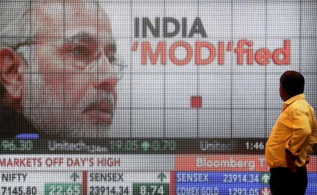 Börse in Mumbai: Schon während der Wahl trieb die Aussicht auf den neuen Premierminister Narendra Modi die indischen Aktienkurse (Foto: Bloomberg)