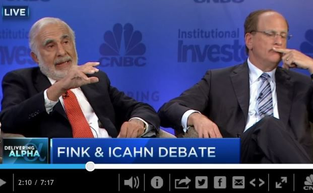US-Großinvestor Carl Icahn während einer New Yorker Investorenkonferenz Blackrock-Chef Laurence Fink angegriffen.