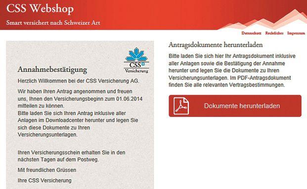Screenshot des neuen CSS Webshops. Foto: CSS