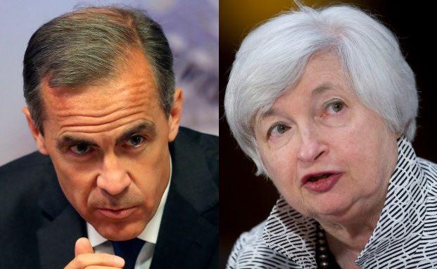 Zwei Menschen, die die Zinsen der Welt steuern: der Chef der Bank of England Mark Carney und die Chefin der US-Notenbank Janet Yellen. Foto: Bloomberg
