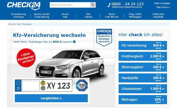 Ein Screenshot von der Webseite von Check24. Das Vergleichsportal verzeichnet großes Wachstum. Foto: Screenshot