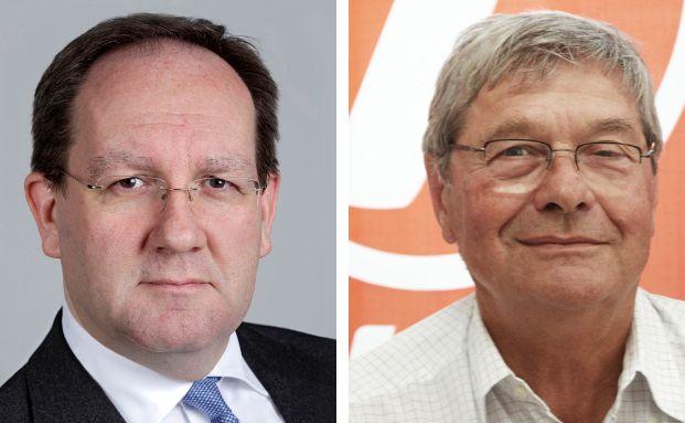 Felix Hufeld (l.) ist Präsident der Bundesanstalt für Finanzdienstleistungsaufsicht (Bafin). Detlev von Larcher ist Mitglied der bundesweiten Attac-Arbeitsgruppe Finanzmärkte.