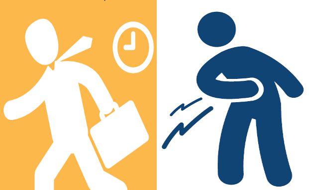 Der tägliche Stress im Büro schlägt nicht wenigen Arbeitnehmern auf den Magen. Grafiken: pronova BKK