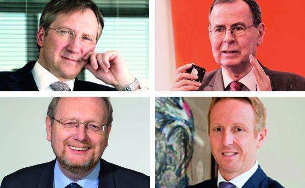 Auf dem Podium diskutierten beim diesjährigen Sauren Fondsmanager-Gipfel vor knapp 2.000 Zuhörern Dr. Bert Flossbach (o.l.), Peter E. Huber (u.l.), Klaus Kaldemorgen (o.r.) und Bernd Ondruch (u.r.).