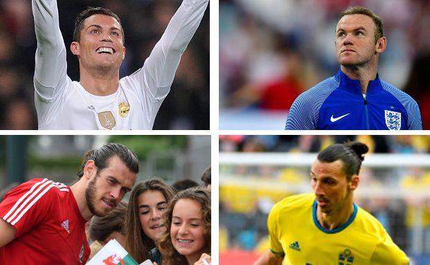 Zu den Top-Verdienern unter den Spielern bei der Euro 2016 zählen Cristiano Ronaldo (o.l.), Wayne Rooney (o.r.), Gareth Bale (u.l.) und Zlatan Ibrahimovic. Fotos: Getty Images