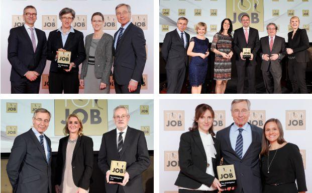 """Die Vertreter der ausgezeichneten Unternehmen erhielten das """"Top Job-Siegel"""" überreicht."""