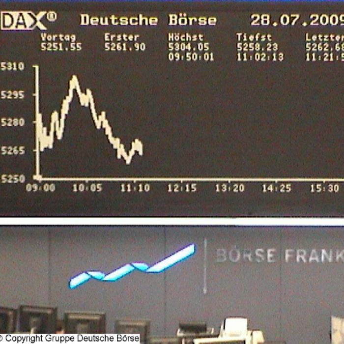 Dax-Chart im Börsensaal