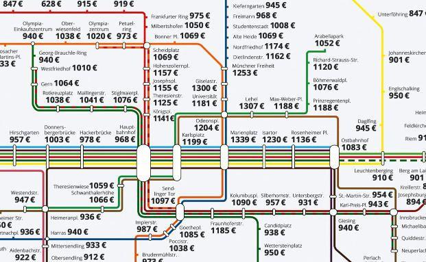 Miet-Map München: Günstig gibt es in München nicht