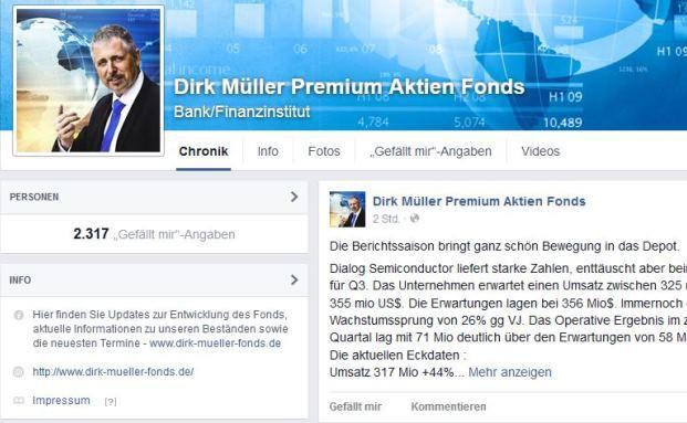 Screenshot der Facebook-Seite für den Dirk Müller Premium Aktien Fonds