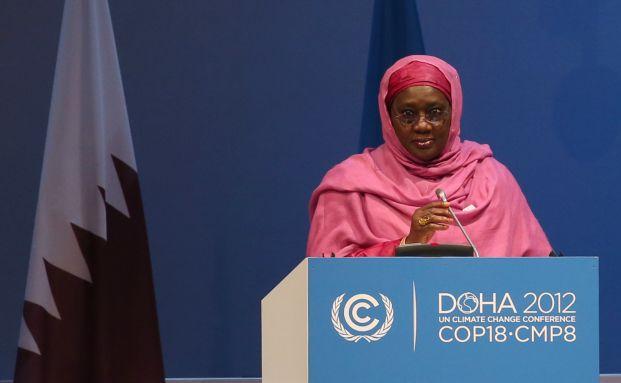 Hadiza Ibrahim Mailafi, Umweltministerin Nigerias, bei ihrer Rede beim Klimagipfel in Doha. Foto: Getty Images