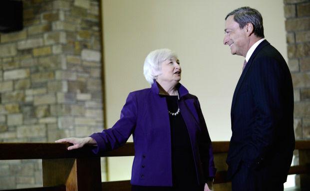 US- und EU-Notenbank-Präsidenten Janet Yellen und Mario Draghi, Foto: Bloomberg