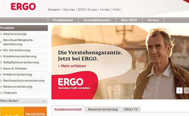 Screenshot der Ergo-Homepage