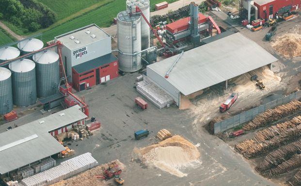 Luftbild des Werks von German Pellets im baden-württembergischen Ettenheim. Foto: german-pellets.de