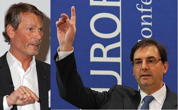 Christian Ohswald, Raiffeisenlandesbank<br>Niederösterreich-Wien, und Fares Maroud, Bank Sarasin & Co.<br>Foto: Foto Vogt