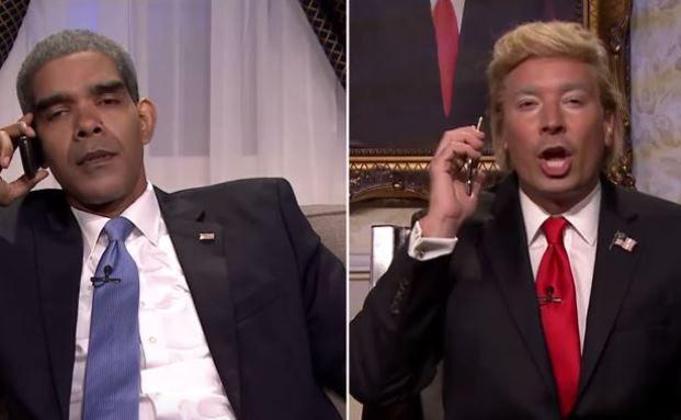 "Szenenbild aus ""The Tonight Show Starring Jimmy Fallon"": Zwei Männer, eine Gegnerin"