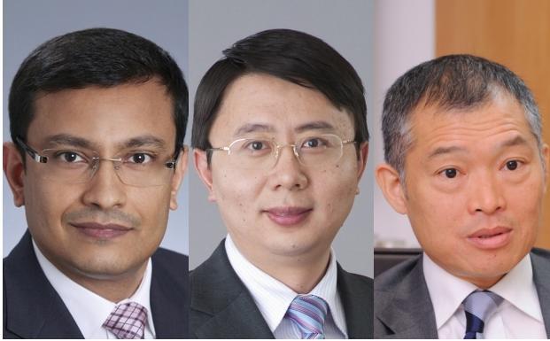 Suranjan Mukherjee, Raymond Ma und Joseph Tse (l).