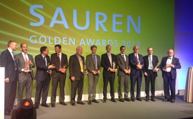 Eckhard Sauren (ganz links) und die Gewinner der Golden Awards 2013