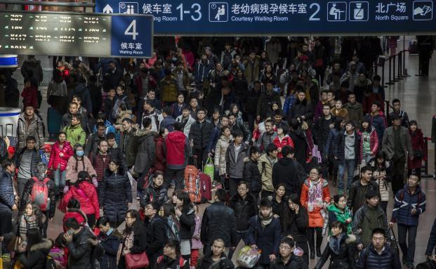 Bahnstation in Peking: In diesem Jahr waren zum chinesischen Neujahrsfest mehr Menschen unterwegs als je zuvor (Foto: Getty Images)