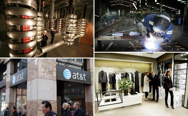 Der Schweizer Energietechnik-Konzern ABB (o.l.), der australische Industriekonzern Monadelphous Group (o.r.), der amerikanische Telefonriese AT&T (u.l.) und das deutsche Modeunternehmen Hugo Boss (u.r.) gehören zu den größten Dividendenzahlern der Welt. Fotos: Getty Images
