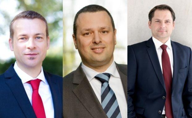 Drei der vier neuen Fidelity-Mitarbeiter: v.l.n.r. Carsten Roemheld, Konstantinos Liolis, Swen Petenyi
