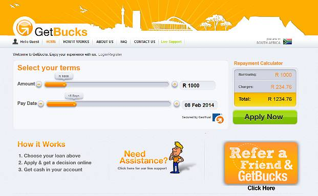 Homepage von Getbucks (Quelle: Screenshot)