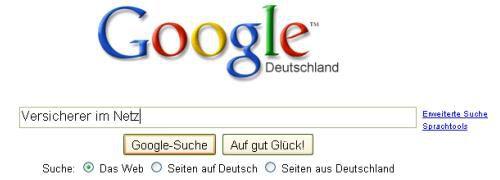 Screenshot der Google-Seite