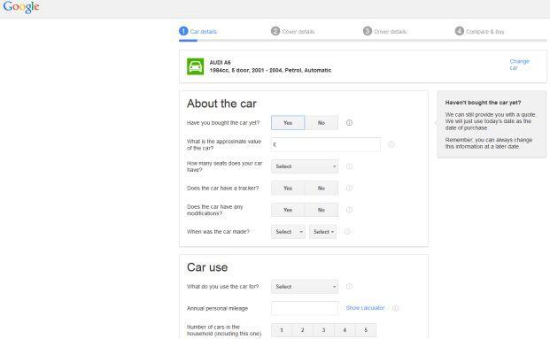 Screenshot der Google-Compare-Oberfläche.